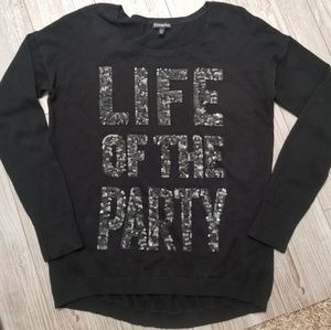 """Express """"life of the party"""" sweater size Medium"""